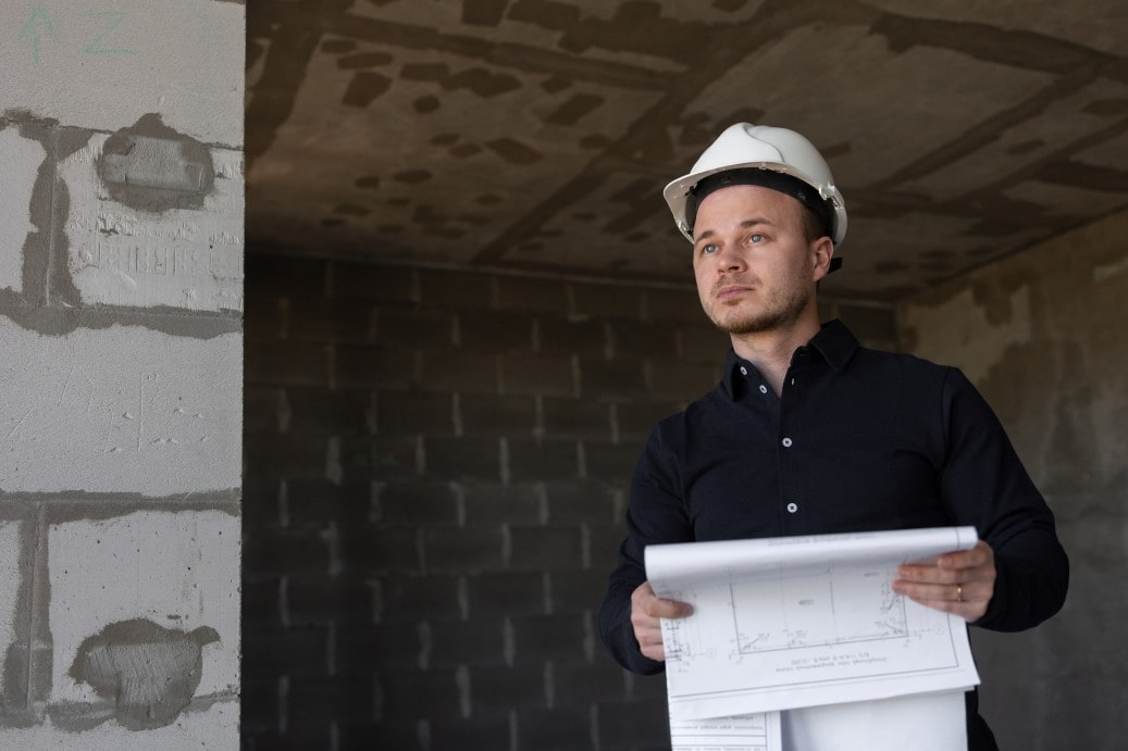engineer inside a building being built