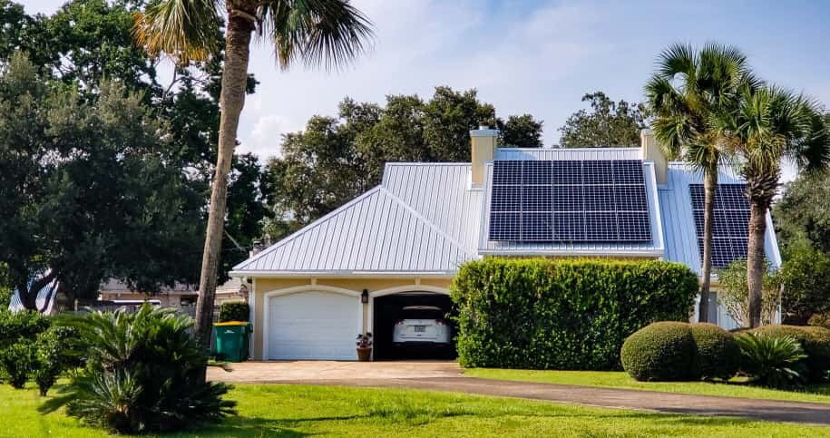 house with a solar panel on it